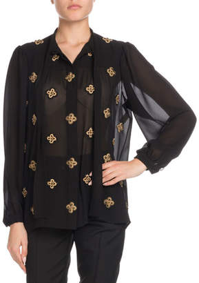Saint Laurent Tie-Neck Long-Sleeve Embroidered Silk Blouse