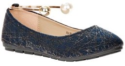 Victoria K Women's Retro Print With Pearl And Gold Ornament Ankle Bracelet Ballet Flats