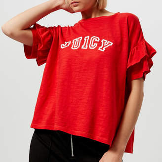 Juicy Couture Women's Juicy Logo Ruffle Sleeve Graphic T-Shirt