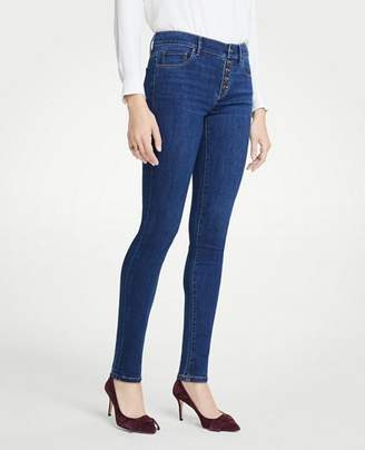 Ann Taylor Button Fly Performance Stretch Skinny Jeans