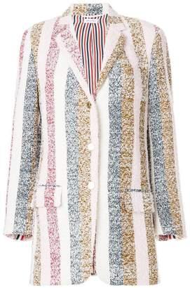 Thom Browne Striped Eyelash Tweed Sport Coat Dress