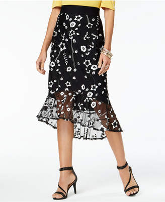 Thalia Sodi Embroidered Flounce Skirt