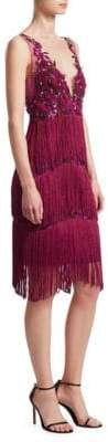 Marchesa Embroidered Mesh Fringe Shift Dress