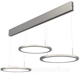 Aluminium-LED-Pendelleuchte Bellini, 3fl., nickel