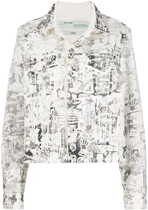 Off-White graphic logo print denim jacket