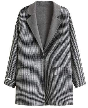 Violeta BY MANGO Houndstooth wool-blend coat