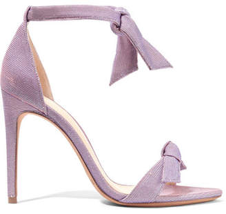 Alexandre Birman Lovely Clarita Bow-embellished Textured-lamé Sandals