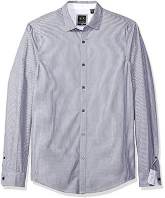 Armani Exchange A|X Men's Poplin Long Sleeve Button Up Woven
