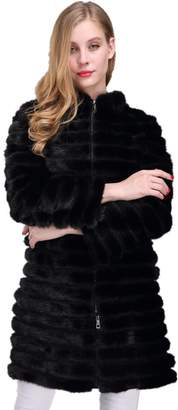 LVCOMEFF Women Detachable Genuine Mink Fur Coat Luxurious 1706004 (XXL)