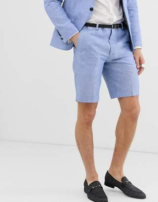 Twisted Tailor super skinny suit shorts in blue linen