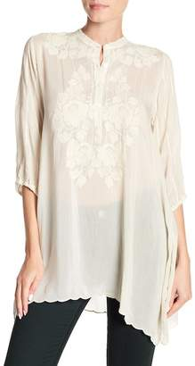 Johnny Was Minna Embroidered Pintuck Pleat Tunic