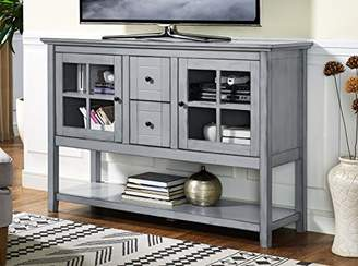 at amazoncom we furniture 52 wood console table buffet tv stand antique grey - Antique Tv Stands