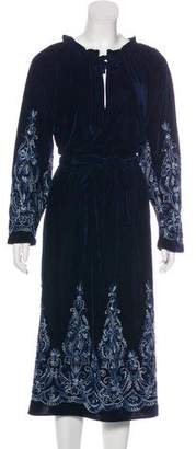 MISA Los Angeles Velvet Embroidered Long Sleeve Midi Dress