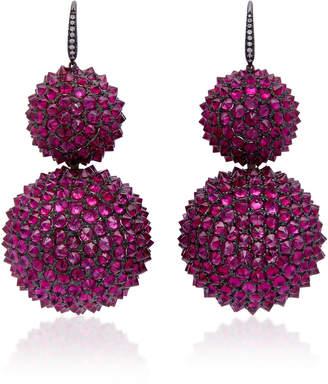 Lauren X Khoo Uni 18K Gold And Ruby Drop Earrings