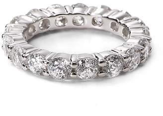Crislu Sterling Silver Round Stone Eternity Band Ring