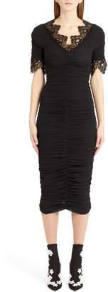 Dolce & Gabbana Lace Trim Ruched Silk Blend Dress