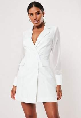 Missguided White Mesh Sleeve Blazer Dress