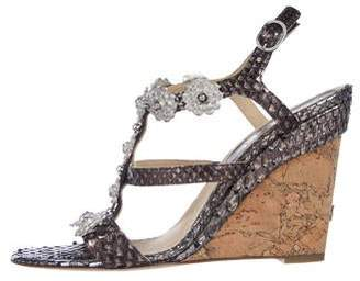 Chanel Camellia Python Wedge Sandals