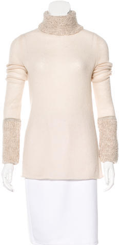 Tory Burch Tory Burch Bouclé-Accented Turtleneck Sweater