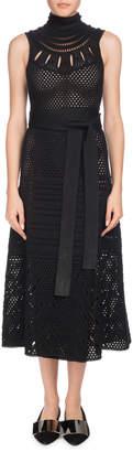 Proenza Schouler Turtleneck Sleeveless Crochet Long Dress