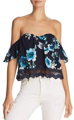 Cotton Candy Floral Off-the-Shoulder Cropped Top - 100% Exclusive