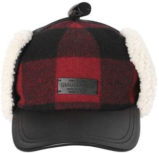 DSQUARED2 Check Wool & Leather Hat W/ Shearling