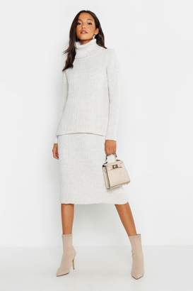boohoo Rib Neck Knitted Skirt Co-Ord