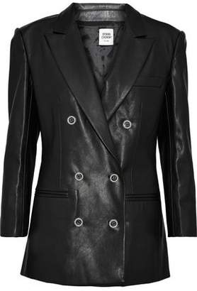 Opening Ceremony Double-Breasted Faux Pearl-Embellished Faux Leather Blazer