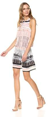 Ramy Brook Printed Paris Sleeveless Blush Elastic Waist Mini Dress