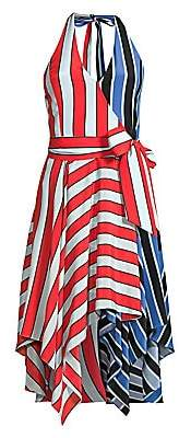 Alice + Olivia Women's Canton Striped Colorblock Wrap Dress