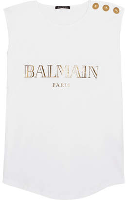 Balmain - Button-embellished Printed Cotton-jersey Top - White $210 thestylecure.com