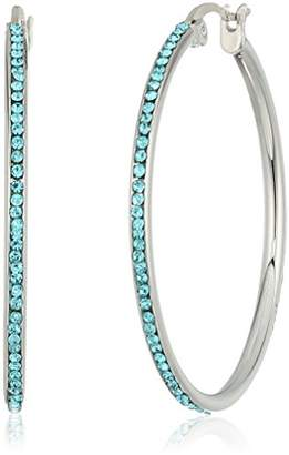 Kenneth Cole New York Women's Silver Tone 35MM Hoop Earrings with Stones