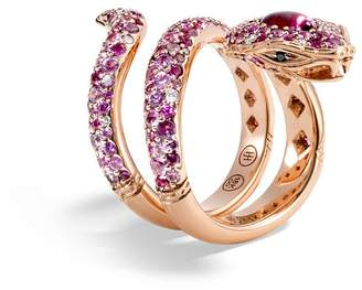 John Hardy 18K Rose Gold Cinta Collection One-of-a-Kind Rubellite Cobra Ring with Pink Sapphire, White & Black Diamond - 100% Exclusive