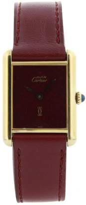 Cartier Vintage Tank Must Burgundy Silver Gilt Watches