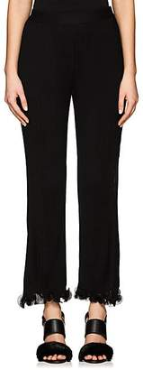 Givenchy WOMEN'S RUFFLED-HEM PLEATED CROP PANTS - BLACK SIZE XS