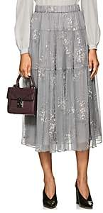 Co Women's Floral Silk Maxi Skirt - Gray