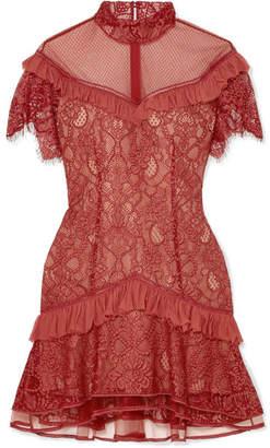 Jonathan Simkhai Ruffled Lace Mini Dress - Red