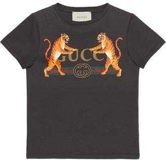 Gucci Kids Children's logo T-shirt with tigers