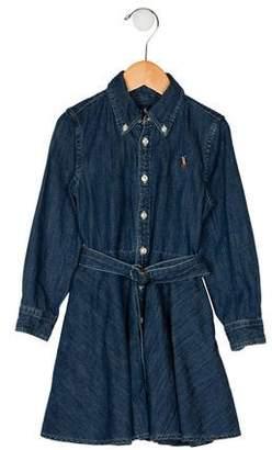 Ralph Lauren Girls' Denim Flare Dress