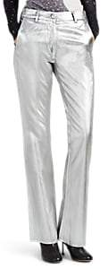 Women's Metallic Twill Boot-Cut Trousers - Silver
