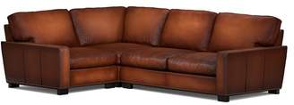 Pottery Barn Turner Square Arm Leather 3-Piece Sectional with Corner with Nailheads