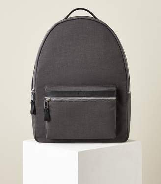 Reiss BRONNMAN LEATHER TRIM BACKPACK Grey