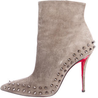 Christian Louboutin Willeta 100 Suede Booties $740 thestylecure.com