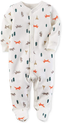 Carter's Baby Boys Wilderness-Print Thermal Footed Coveralls