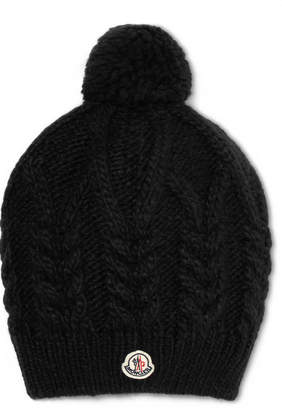 Moncler Appliquéd Cable-knit Beanie - Black