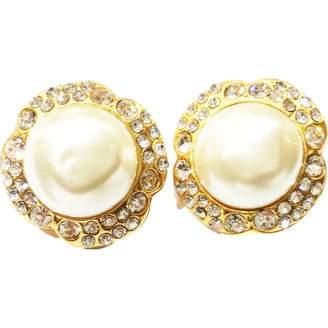 Chanel Vintage White Metal Earrings