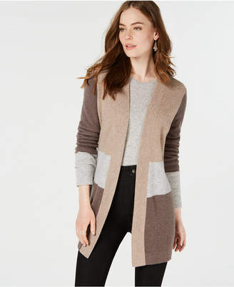 Charter Club Pure Cashmere Colorblocked Cardigan, in Regular & Petite Sizes