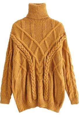 Goodnight Macaroon 'Keeva' Braided Knit Turtleneck Sweater