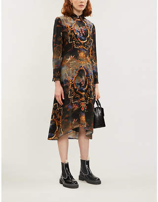Claudie Pierlot Graphic-print silk-satin dress
