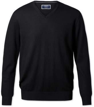 Charles Tyrwhitt Black Merino Wool V-Neck Sweater Size XXL